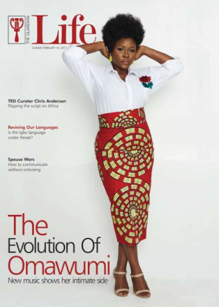 Omawumi style as a mother, covers Guardian Life in solid prints